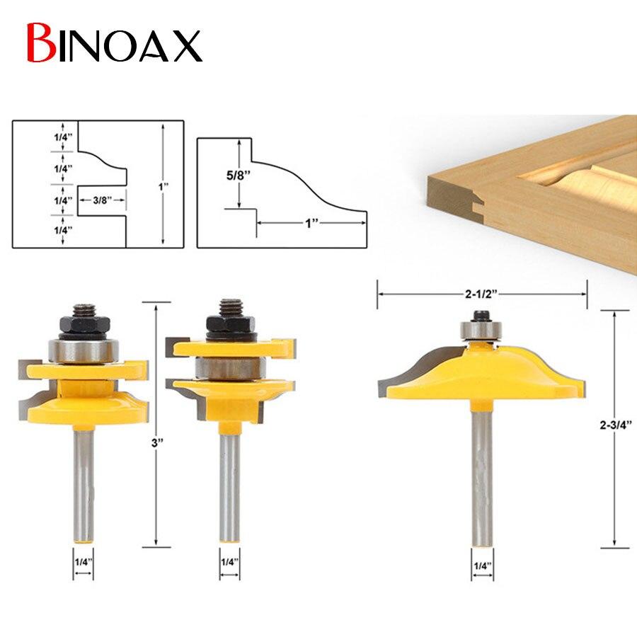 Binoax 3 stücke 14 schaft türverkleidung holzbearbeitung cutter werkzeuge schrank fräser set