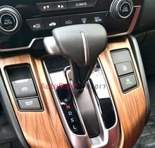 For Honda CRV 2017 2018 left hand drive Luxury Wood Chrome Car Interior Gear Panel Decorative Frame Cover Trims Styling
