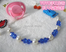 2015 New Hand made blue and pearl beads dummy clip holder pacifier clips baby soother chain and Teethers clip for baby
