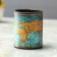 LINKWELL Antique Vintage Blue Yellow World Map Classic Design Gift PU Leather Pencil Pen Holder Desk