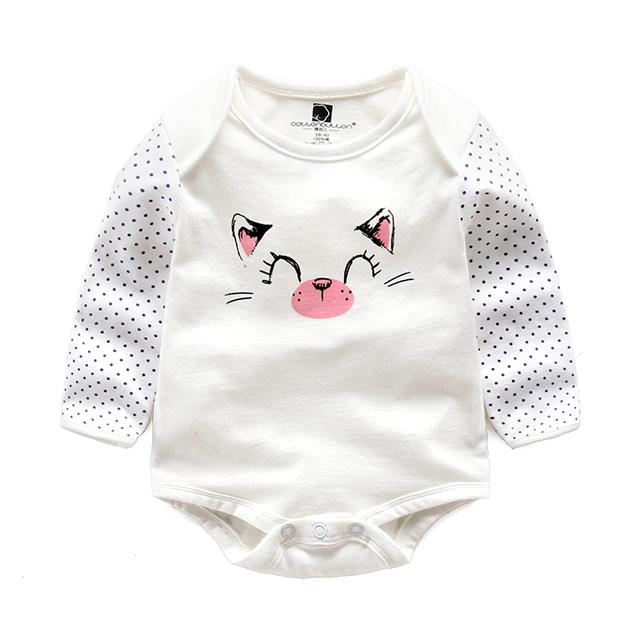Romper infantil do bebê do algodão de manga comprida primavera roupas de bebê