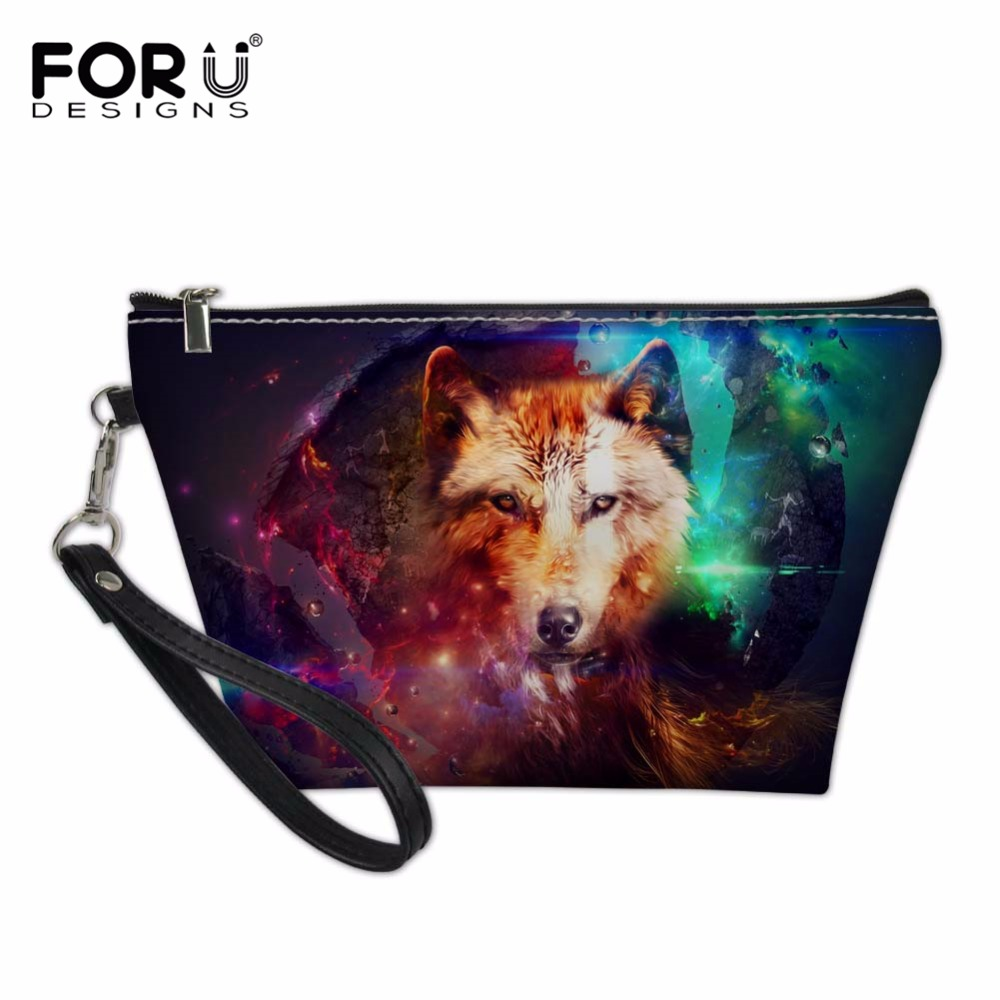 FORUDESIGNS Functional Cosmetic Bags for Women Wolf Pattern Make Up Bag Makeup Travel Organizers Pouch Box Toiletry Kit for Gi