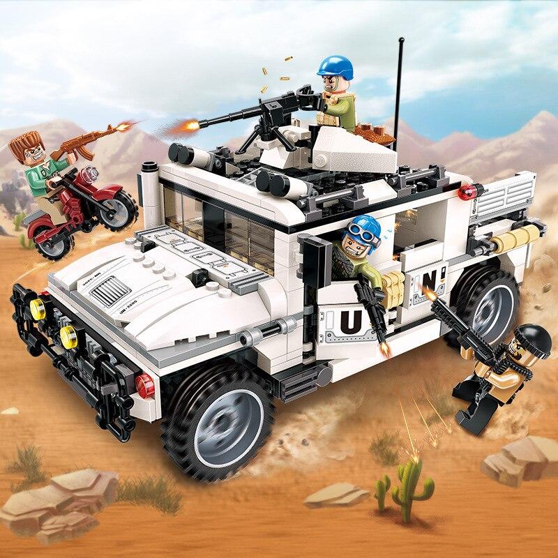 3205 452pcs Força de Manutenção Da Paz Trovão Missão Legoings Militar Hummer Counterattach Blocos de Construção Crianças Brinquedos Para Crianças