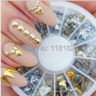 Biutee <font><b>120Pcs</b></font> Gold / Silver Metal Nail Art Decor Rhinestones Tips Metallic Studs tools <font><b>sticker</b></font> image