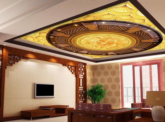 Pareti Doro : 3d wallpaper soffitto murale drago doro candele di lusso ricchezza