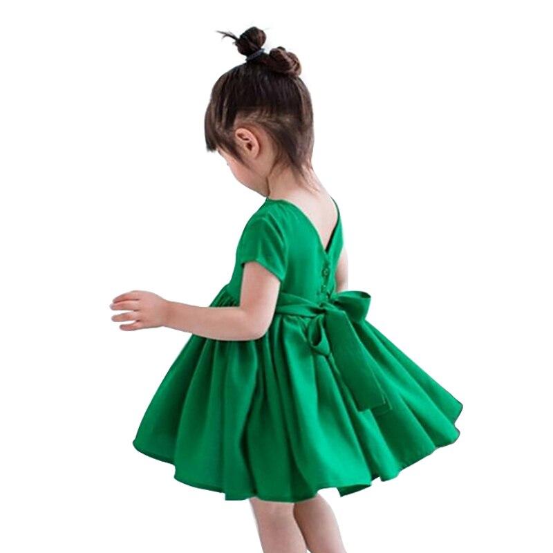 c3087764f 3-10 yrs Girls clothes summer 2018 girls cotton short sleeve bow dress for  children clothing green princess korean cute dress