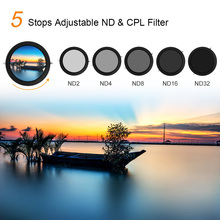 K&F CONCEPT 2 in 1 Adjustable Polarizing CPL variable ND Lens Filter 67mm/72mm Fader 5 Stop ND2 ND32 for Canon Sony Nikon Camera