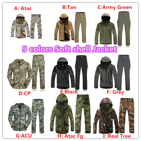 TAD Lurker Shark skin Outdoor military uniform Tactical camouflage Soft Shell jacket Sports hunting army clothes Jacket + Pants