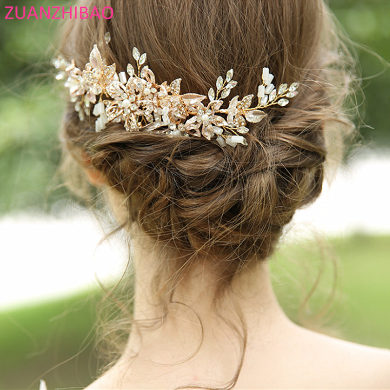 Flower Bridal Hair Comb Hair Pins Crystal Rhinestones Hair Pearl Tiaras Bride Head Jewelry Headpiece Wedding Hair Accessories