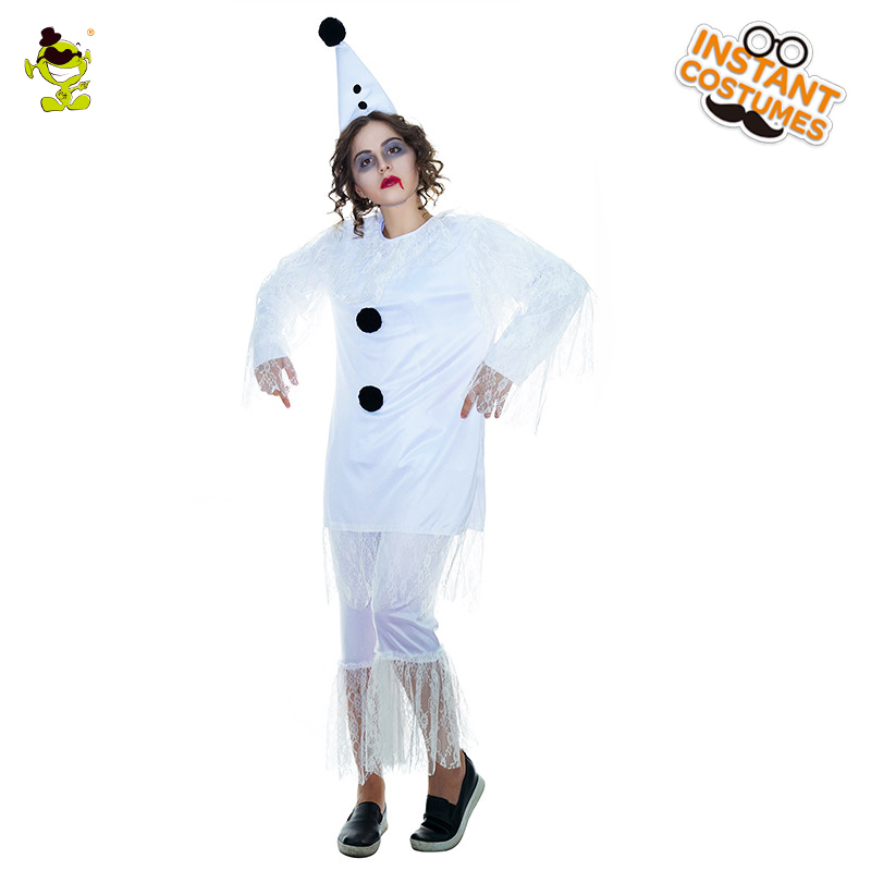 Blood Snow Girl Costume Women's Scary Bloody White Ghost Long Outfit Costumes For Masquerade Cosplay Dress
