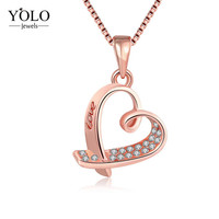 Female Rose Gold Color Pendants Necklaces Heart Shape Charm Jewelry with Link Chain Love Gift for Girlfriend