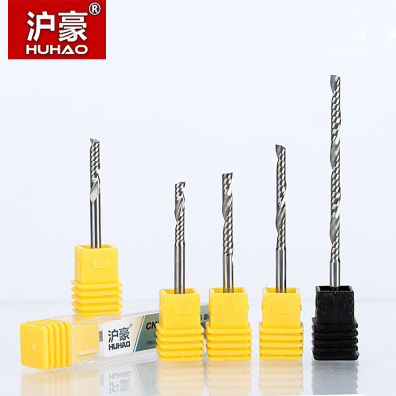 HUHAO 10pcs/lot 3.175mm Single Flute Spiral Cutter router bit CNC end mill For MDF carbide milling cutter tugster steel cnc 1pcs 12mm shk one flute end mill cutter spiral bit cnc router tool single flute acrylic carving frezer