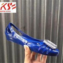 jelly shoes women candy summer luxury designer model metal buckle flat slip on shoes female beach shoes