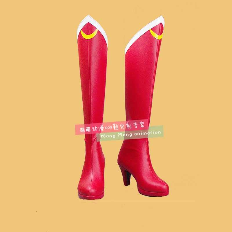 Neue Anime Sailor Moon Cosplay Schuhe Mädchen Knie Länge PU Leder Cosplay Stiefel High Heels Zipper-up Halloween Schuhe größe 35-44
