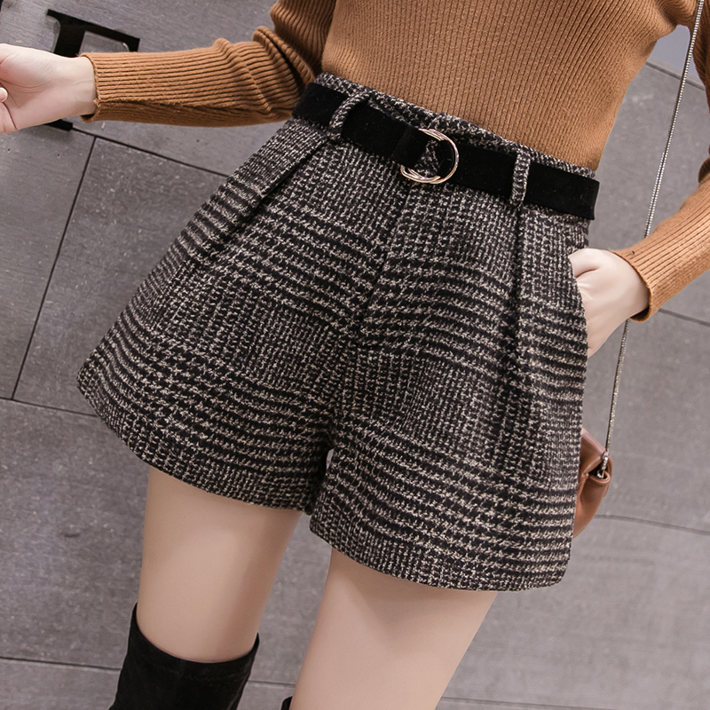 2019 New Spring Autumn Wool   Shorts   Women Korean High Waist Plaid Wide Leg   Shorts   Femme Casual Loose Boots   Shorts