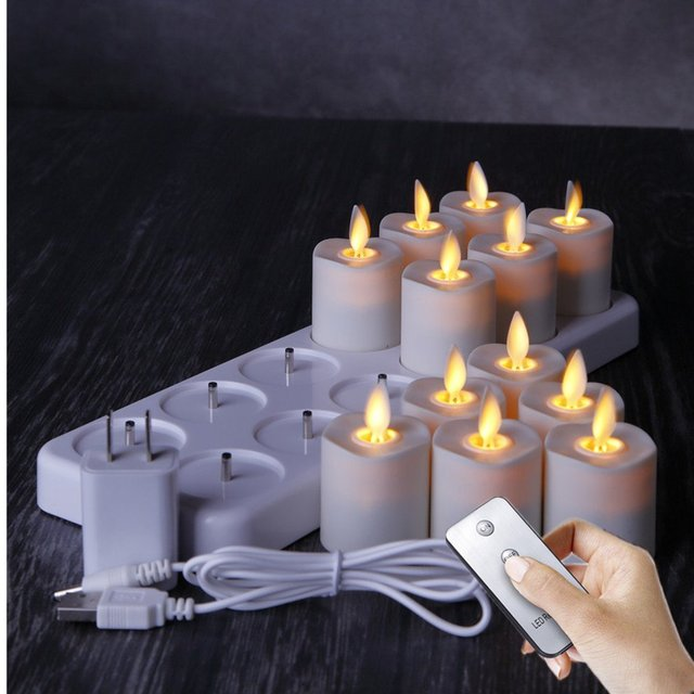 Rechargeable Flameless Led Tea Lights Votive Candles With Timer 15