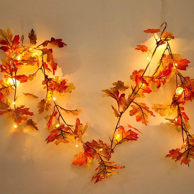 Happy Halloween 1.5M LED Lighted String Fall Autumn Pumpkin Maple Leaves Garland Decoration Party Garden Decor Lights SA75