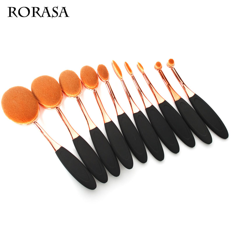 10pcs set Flexible Makeup Brush Tooth Brush Shape Makeup Brush Rose golden Toothbrush Artists Shadows Makeup