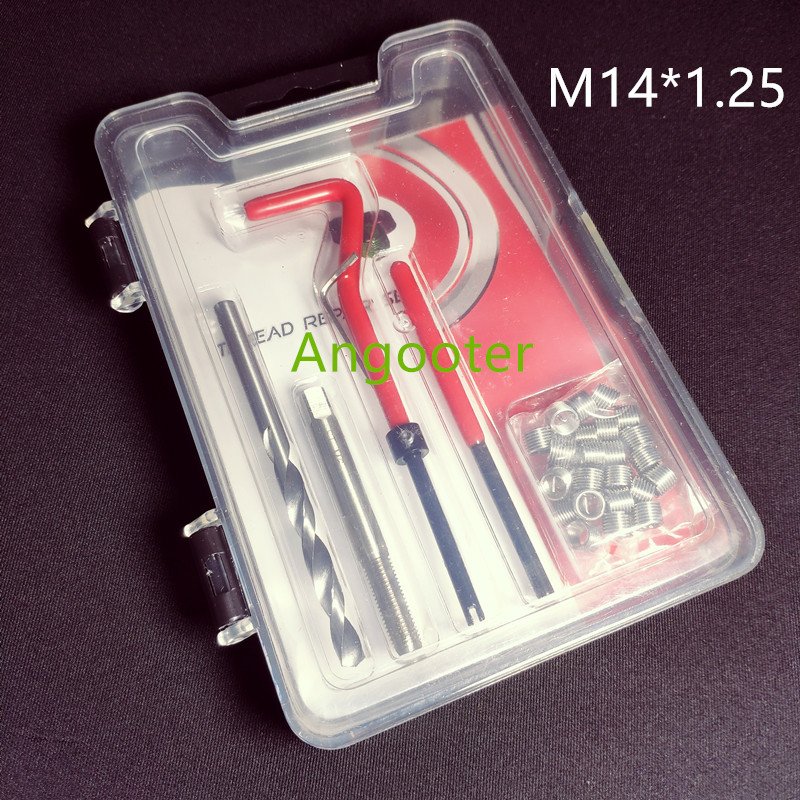 M14*1.25 Car Pro Coil Drill Tool Metric Thread Repair Insert Kit For Helicoil Car Repair Tools Coarse Crowbar