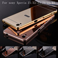 Luxury Aluminum Metal Hybrid case For sony Xperia Z1 Z2 Z3 Compa Z4 Z5 M4 aqua Hard Mirror Protective Back Cover For sony Z1
