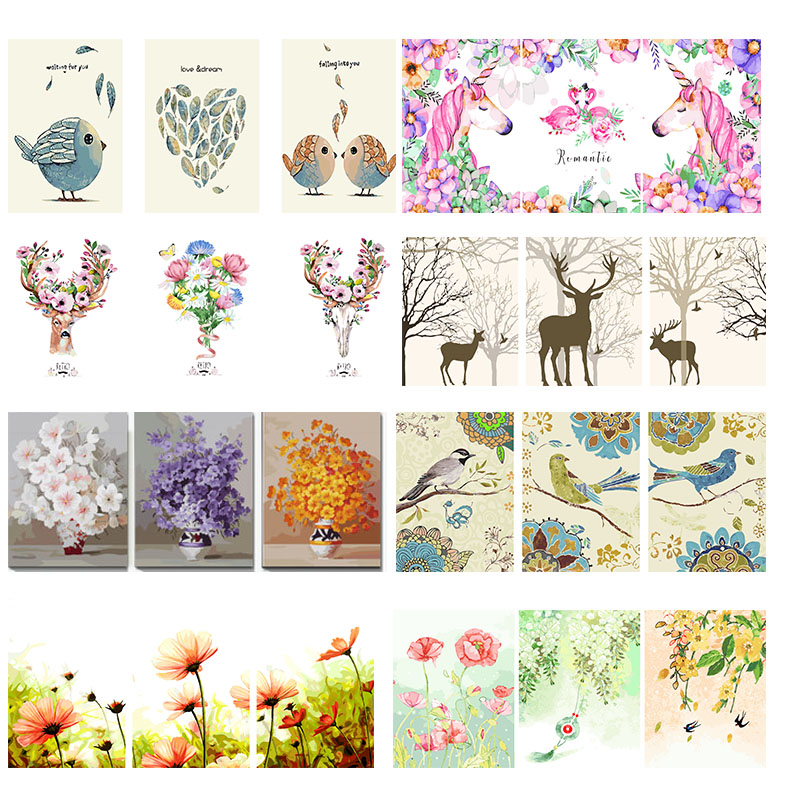 3x DIY Oil Painting By Numbers Animal Triptych Modular Coloring Picture Unicorn Abstract Paint Flower Wall Sticker Unfinished