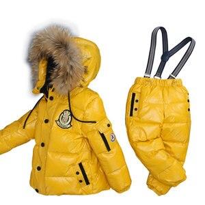 Image 3 - ボーイズ冬防寒着毛皮冬の女の子スーツアヒルダウン子供の男の子の服セット暖かい幼児ダウンパーカージャケットコート雪着用