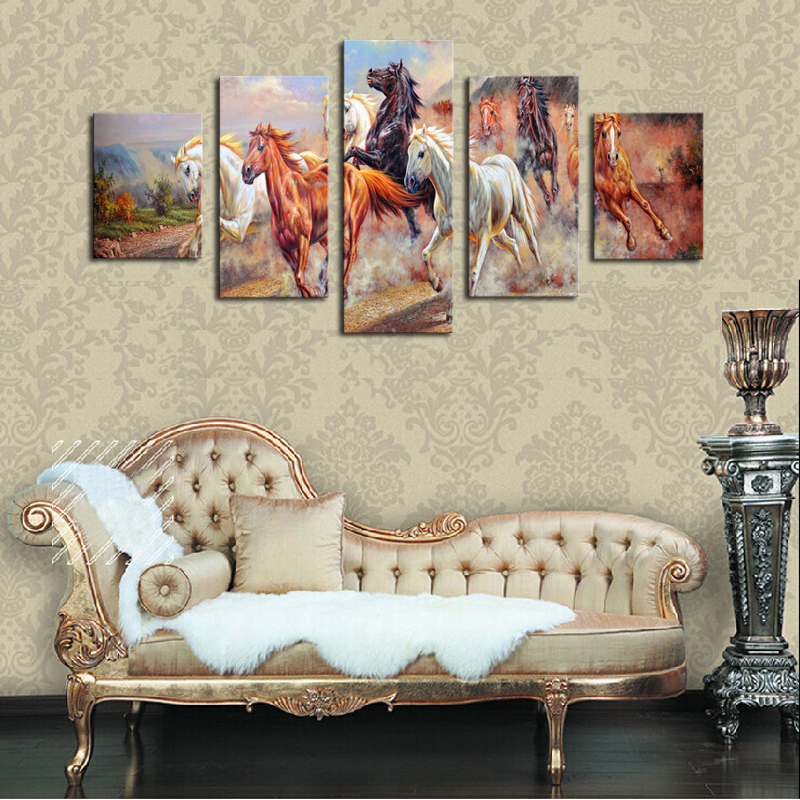5 Panels Canvas Print Painting Modern Running Horse Canvas Wall Art ...
