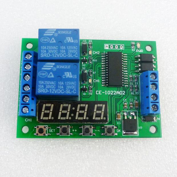 12V CE-IO22A02 2 way multi function delay relay adjustable timer digital tube timing switch dc 12v led display digital delay timer control switch module plc automation new