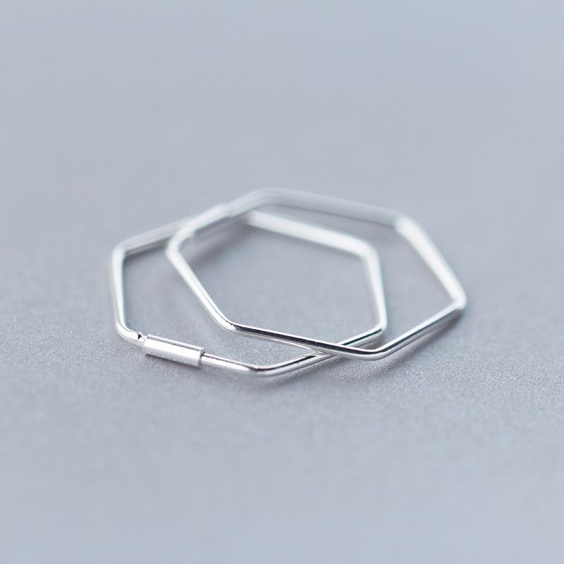 MloveAcc 925 Sterling Silver Hexagonal Geometry Stud Earrings for Women Simple Earrings Sterling-silver-jewelry ...