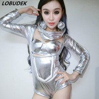 nightclub singer DJ in Europe and the United States Secret catwalk costume silver Jumpsuit female sexy Stage performance clothes