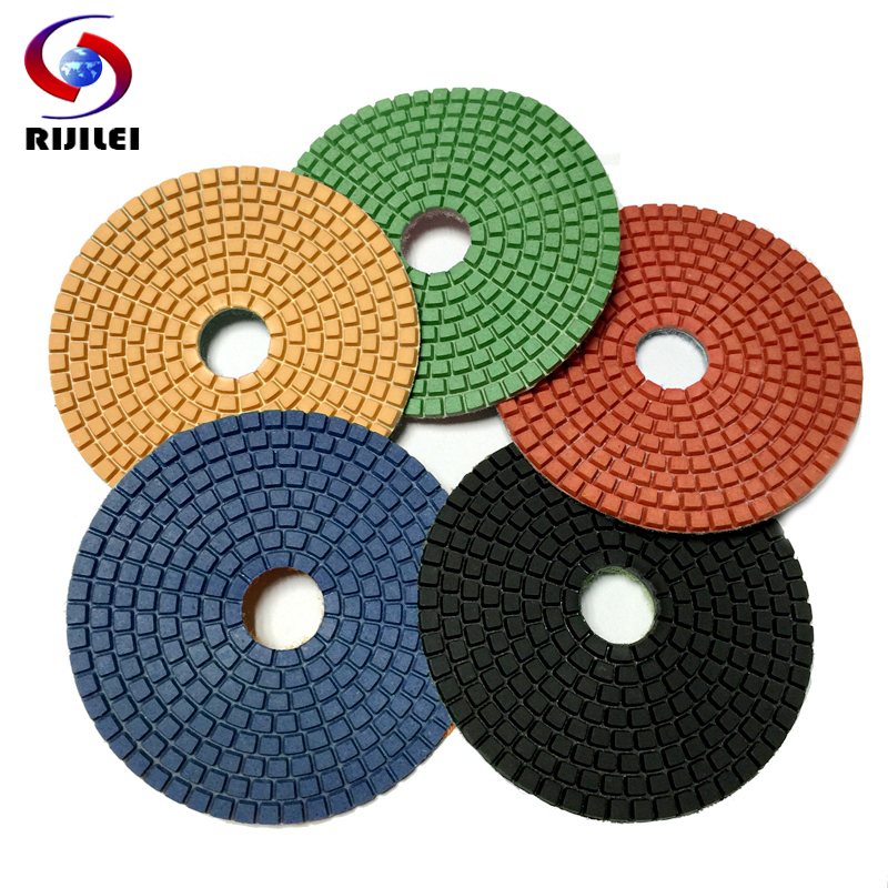 RIJILEI 10Pieces/lot 5inch Diamond Polishing Pad Wet Granite Polishing Pads 125mm Diamond Polishing Pads Marble Concrete 5DS1