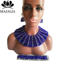 Majalia Classic Nigerian Wedding African Jewelry Set Royal Blue and Silver Crystal Necklace Bride Jewelry Sets 10SX019