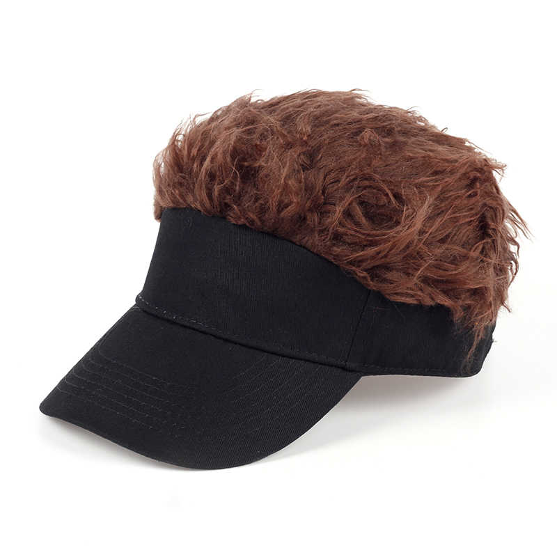 TUNICA Hot New Fashion Novelty Baseball Cap Fake Flair Hair Sun Visor Hats Men's Women's Toupee Wig Funny Hair Loss Cool Gifts