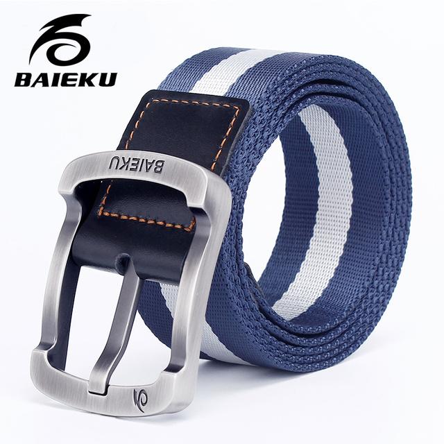 Baieku hombres Nylon Cinturón Cinturones de Ocio mens cinturones de lona a rayas Estudiante Deportes Al Aire Libre de alta calidad militar