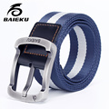 baieku Men 's Nylon Belt Leisure  Belts Student Outdoor Sports high quality mens canvas belts striped military