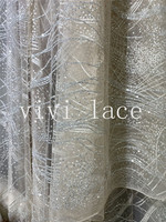 5yards/bag le018 # silver luxury color glued sparkle glitter tulle mesh lace fabric for wedding dres