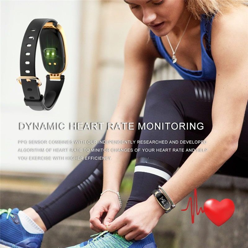 0 96 inch Female Smart Wristband Waterproof Bracelet Fitness Tracker GPS Trajectory Heart Rate Monitor Message Call Reminder in Smart Wristbands from Consumer Electronics