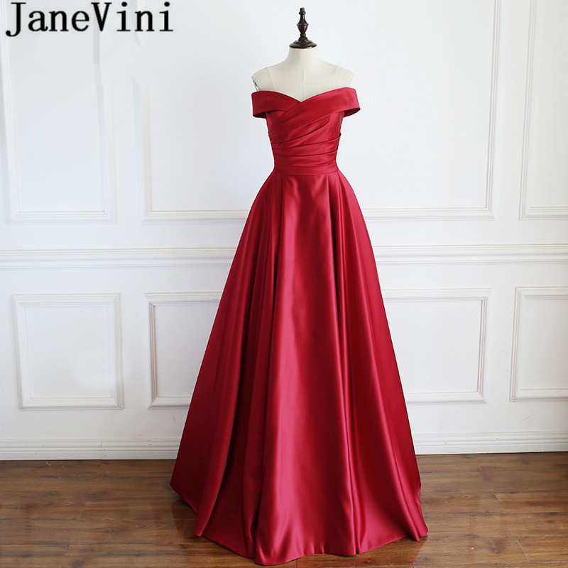 JaneVini 2019 Burgundy Prom Dresses Galajurken Lang Elegant Long Satin Off Shoulder Lace Up Party Dresses