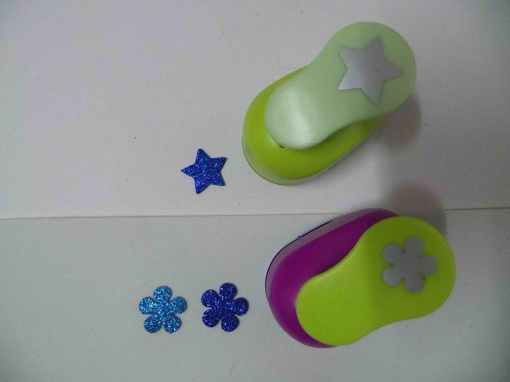 2 unids (2.5 cm) estrella y flor forma sacador scrapbooking escuela Eva del perforador del papel del sacador