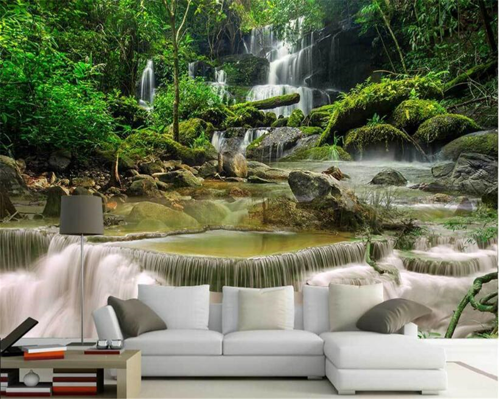 beibehang Fashion high-level decorative painting personalized wallpaper 3D aesthetic natural scenery TV background 3d