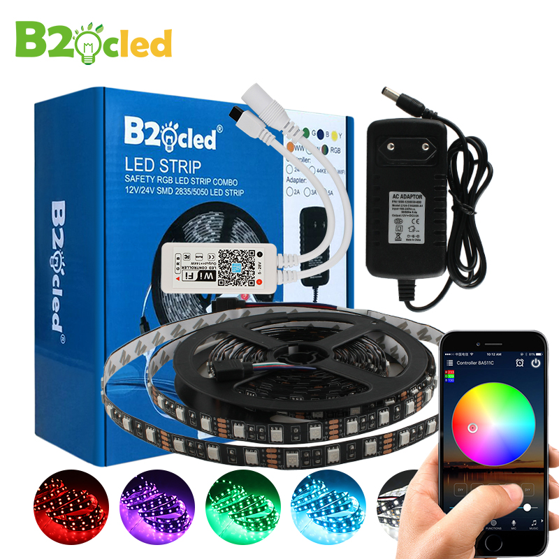 WiFi LED Strip 5M 5050 DC 12V LED RGB strip light LED flexible LED Diode Tape WiFi controller + Adapter