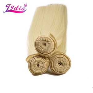 Image 2 - לידיה סינטטי יקי ישר שיער Weave עם כפול ערב 613 # בלונד שיער חבילות 16 inch 20 inch 4 יח\אריזה עם משלוח סגירה