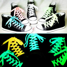 1pair 80cm Sport Luminous Shoelace Glow In The Dark Night Color Fluorescent Athletic Flat Shoe Laces Hot Selling