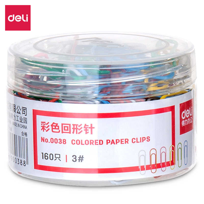 Deli 160 Pcs/Barrel Color Paper Clips Student Stationery Large Metal Metal Clips Office Learn Student Clips