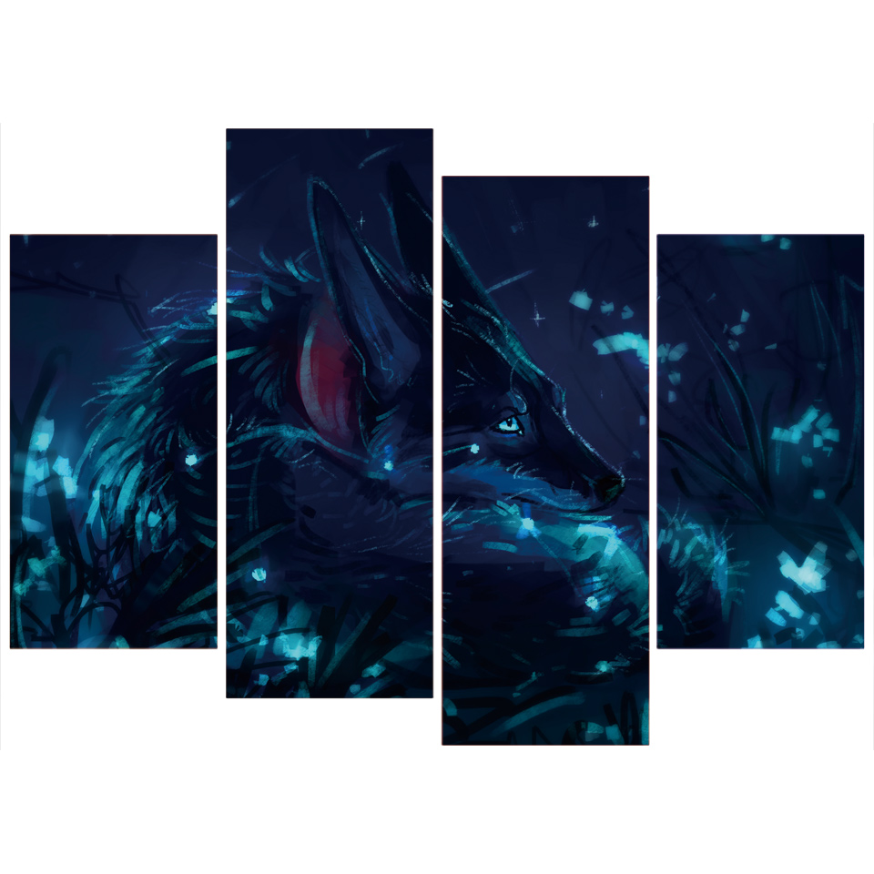 4 Teile/satz Gerahmte HD Gedruckt Dunklen Nacht Wolf Bild Wandkunst ...