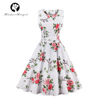 Minifaceminigirl White Dress 2018 Sleeveless O Neck Summer Robe Vestidos Hepburn Style Bird Floral Print Elegant
