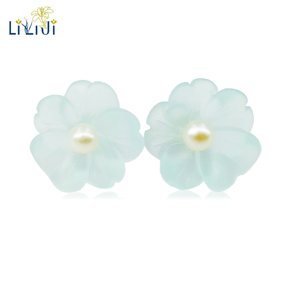 Lii Ji Real 925 Sterling Silver Natural Blue Crystal Flowers Freshwater Pearl Stud Earrings For Women Gift Dropshipping