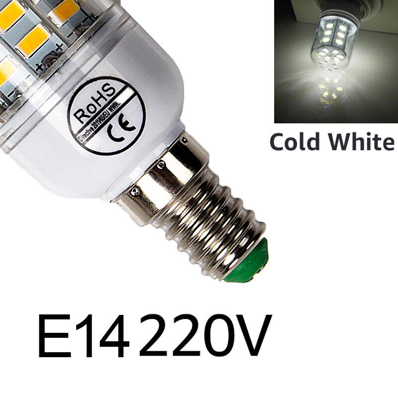 E27 светодиодный светильник E14 светодиодный лампы SMD5730 220V лампы кукурузы 24 36 48 56 69 72 светодиодный s люстры лампы в форме свечи светодиодный светильник для украшения дома ампулы - Испускаемый цвет: E14cold white