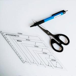 Image 5 - Lmdz 透明アクリル定規 45 度ダイヤモンド定規パッチワーククラフトキルティング定規切断定規スケールホーム縫製ツール