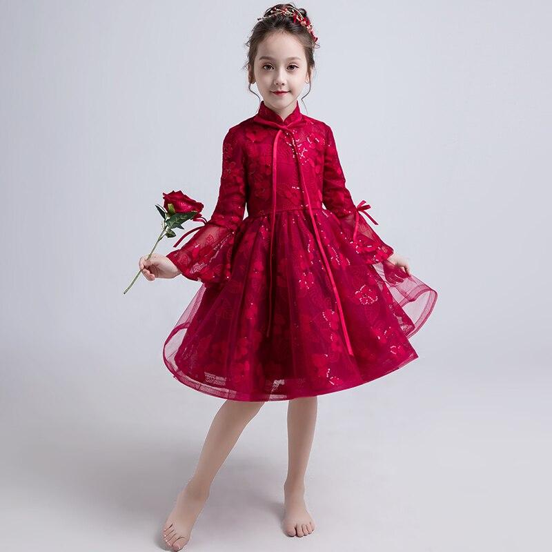 Vin rouge Flare manches princesse robe broderie à manches longues fleur fille robes pour mariage col montant robe de bal robe de soirée